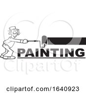 Cartoon Black And White Male Painter Using A Roller Brush