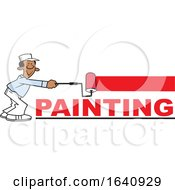 Cartoon Black Male Painter Using A Roller Brush