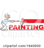 Cartoon White Male Painter Using A Roller Brush