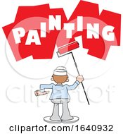 Poster, Art Print Of Cartoon White Male Painter Using A Roller Brush
