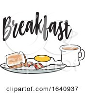 Poster, Art Print Of Breakfast Plate With Toast Bacon And An Egg With A Coffee Under Text