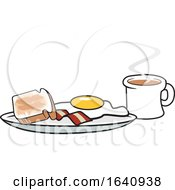 Breakfast Plate With Toast Bacon And An Egg With A Coffee