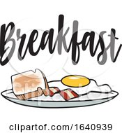 Poster, Art Print Of Breakfast Plate With Toast Bacon And An Egg Under Text