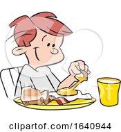 Poster, Art Print Of Happy White Boy Eating Breakfast