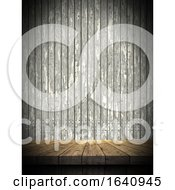 3D Wooden Table Against A Grunge Wooden Wall