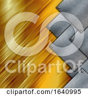 Grunge Metal Plates On A Gold Texture