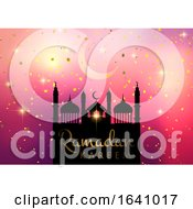 Ramadan Kareem Background With Mosque Silhouette On Starry Background by KJ Pargeter
