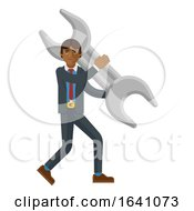 Asian Business Man Holding Spanner Wrench Concept