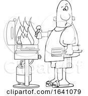Cartoon Black And White Man Holding A Salt Shaker And Watching As The Flames Get High On His Bbq Grill