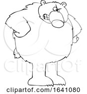 Cartoon Black And White Angry Bear With Hands On Hips