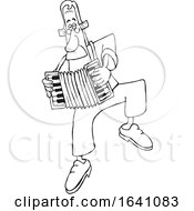 Cartoon Black And White Man Dancing And Playing An Accordion
