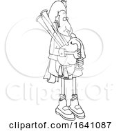 Cartoon Black And White Bagpiper In Uniform