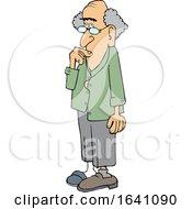 Cartoon Absentminded Senior White Man