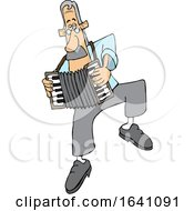 Cartoon White Man Dancing And Playing An Accordion