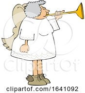 Cartoon Chubby Female Angel Playing A Horn