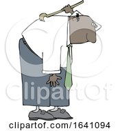 Cartoon Black Business Man Scratching His Back