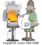 Cartoon Black Man Holding A Salt Shaker And Watching As The Flames Get High On His Bbq Grill