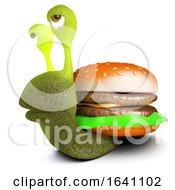 Poster, Art Print Of 3d Funny Cartoon Snail Character Carrying A Beef Burger