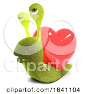 Poster, Art Print Of 3d Funny Cartoon Snail Bug Character Carrying A Heart Instead Of A Shell