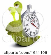 3d Funny Cartoon Snail Bug Carrying A Stopwatch