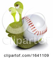 3d Funny Cartoon Snail Bug Carrying A Baseball Instead Of A Shell