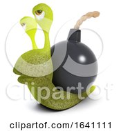 3d Funny Cartoon Snail Character Carrying A Bomb Instead Of A Shell