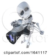 3d Funny Cartoon Spooky Skeleton Character Taking A Photo With A Camera