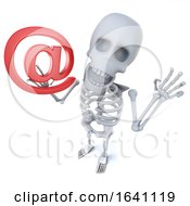 3d Funny Cartoon Skeleton Character Holding An Email Address Symbol