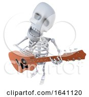 3d Funny Cartoon Skeleton Character Playing An Acoustic Guitar