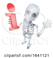 3d Funny Cartoon Skeleton Character Holding An Information Symbol