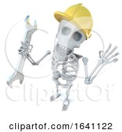 3d Funny Cartoon Skeleton Construction Worker Character Holding A Spanner