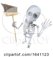 3d Funny Cartoon Skeleton Character Holding A Broom Ready To Sweep