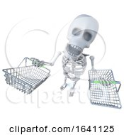 3d Funny Cartoon Skeleton Carrying Shopping Baskets