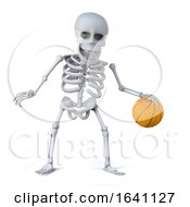 3d Skeleton Dribbles The Ball In A Game Of Basketball