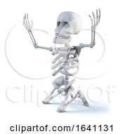 3d Skeleton Kneeling With Arms Raised In Appeal