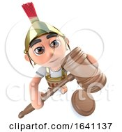 Poster, Art Print Of 3d Funny Cartoon Roman Soldier Character Holding An Auction With A Gavel