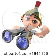 3d Funny Cartoon Roman Soldier Character Looking Through Binoculars by Steve Young