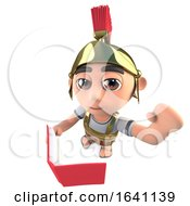 3d Funny Cartoon Roman Soldier Gladiator Reading A Book And Waving by Steve Young