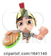 3d Funny Cartoon Roman Soldier Gladiator Eating A Beef Burger