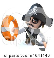 3d Funny Cartoon Pirate Captain Holding A Life Buoy In Attempt To Rescue Someone
