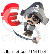 3d Funny Cartoon Pirate Captain Holding A Euro Currency Symbol