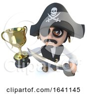 3d Funny Cartoon Pirate Captain Character Holding A Gold Cup Trophy Award A Successful Winner