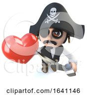 Poster, Art Print Of 3d Funny Cartoon Pirate Captain Character Holding A Romantic Red Heart At Valentines Day