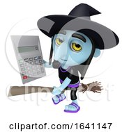 3d Funny Cartoon Halloween Witch Flying On A Broomstick And Holding A Calculator