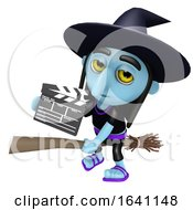 3d Funny Cartoon Halloween Witch Flying On A Broomstick And Holding A Movie Chalk Slate Clapperboard