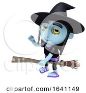 3d Funny Cartoon Halloween Witch Flying On A Broomstick And Waving Hello