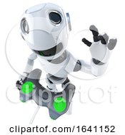 3d Funny Cartoon Robot Character Playing A Video Game With A Joystick Controller