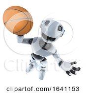 3d Cartoon Robot Man Playing Basketball