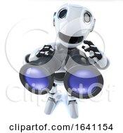 3d Cartoon Robot Man Using A Pair Of Binoculars