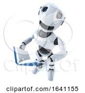 3d Funny Cartoon Mechanical Robot Character Reading A Book